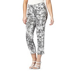 J by Jasper Conran - Designer khaki palm print cropped trousers
