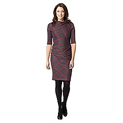 J by Jasper Conran - Designer dark grey checked ponte dress