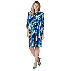 J by Jasper Conran - Designer blue brush stroke print dress