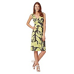 J by Jasper Conran - Designer lime palm print V neck dress