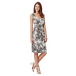 J by Jasper Conran - Designer grey palm print V neck dress