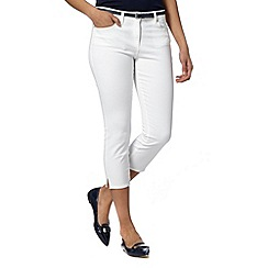 J by Jasper Conran - Designer white belted denim cropped trousers