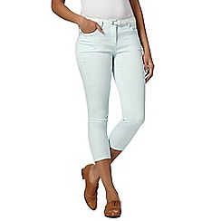 J by Jasper Conran - Designer aqua belted denim cropped jeans