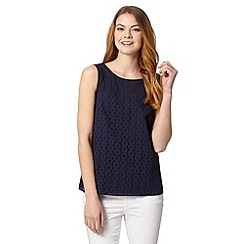 J by Jasper Conran - Designer navy broderie shell top
