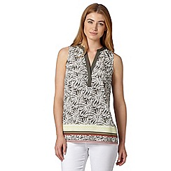 J by Jasper Conran - Designer khaki palm print border top