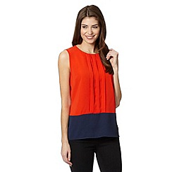 J by Jasper Conran - Designer orange pleat front colour block top