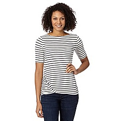 J by Jasper Conran - Designer ivory striped button detail top