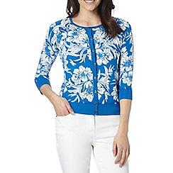 J by Jasper Conran - Designer bright blue floral print cardigan