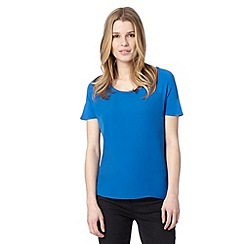 J by Jasper Conran - Designer bright blue jersey t-shirt dipped back hem boat neck