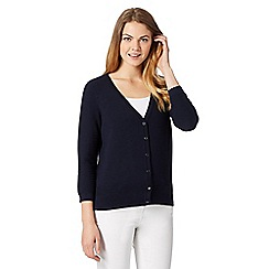 J by Jasper Conran - Designer navy textured sleeve cardigan