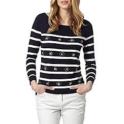 J by Jasper Conran - Designer navy embellished stripe jumper