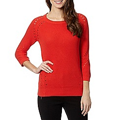 J by Jasper Conran - Designer orange ribbed punched hole jumper