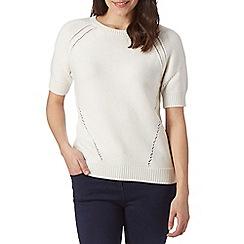 J by Jasper Conran - Designer white chunky pointelle knit jumper