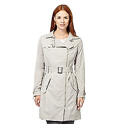 J by Jasper Conran - Designer light grey asymmetric zip mac coat