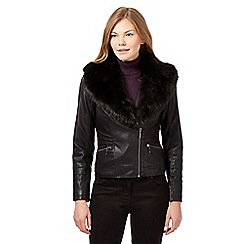 J by Jasper Conran - Black faux fur collar biker jacket