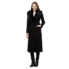 J by Jasper Conran - Black faux fur crepe coat