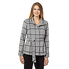 J by Jasper Conran - Grey checked Italian wool blend coat
