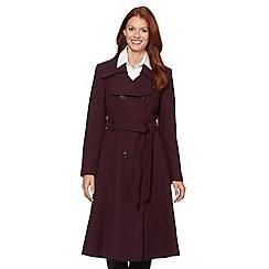 J by Jasper Conran - Designer wine belted crepe longline coat