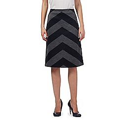 J by Jasper Conran - Navy zig zag knee length skirt