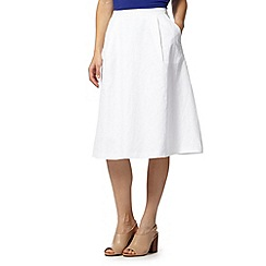 J by Jasper Conran - Designer white linen blend skirt