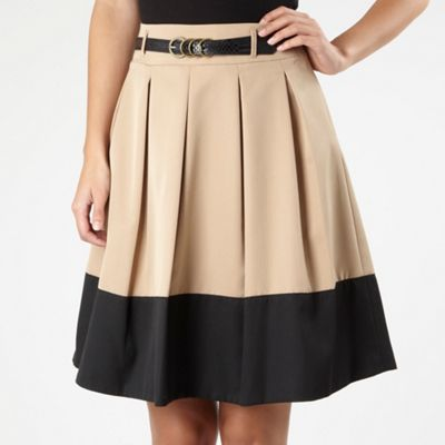 Light Tan Pleated Colour Block Skirt