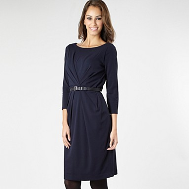 Navy tuck waist shift dress