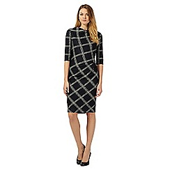J by Jasper Conran - Dark blue checked midi pencil dress