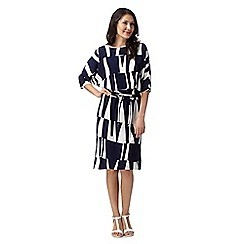 J by Jasper Conran - Designer navy geometric block full sleeved dress