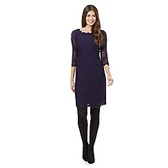 J by Jasper Conran - Dark purple floral lace dress