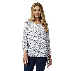 J by Jasper Conran - White drawstring hem linear print top