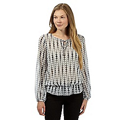J by Jasper Conran - Designer light grey spotted blouson top
