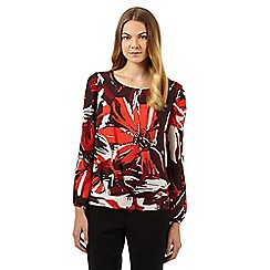 J by Jasper Conran - Designer red floral chiffon top