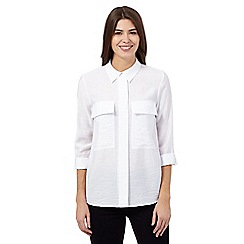J by Jasper Conran - White textured roll sleeve shirt