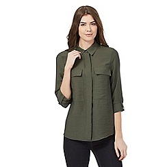 J by Jasper Conran - Khaki long sleeved two pocket shirt