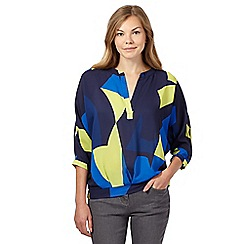 J by Jasper Conran - Navy abstract blouson top