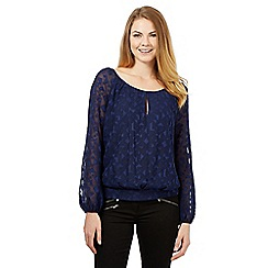 J by Jasper Conran - Navy geometric burn out top