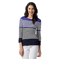 J by Jasper Conran - Designer purple striped placket jersey top