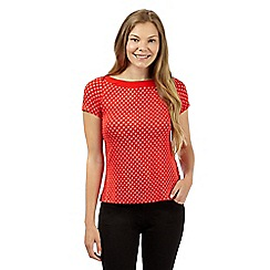 J by Jasper Conran - Designer bright red spot print jersey top