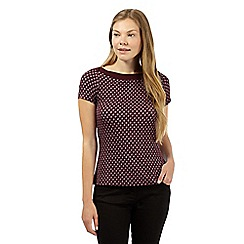 J by Jasper Conran - Designer dark purple spotted jersey top