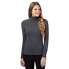 J by Jasper Conran - Dark grey plain polo neck top