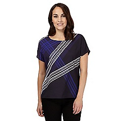J by Jasper Conran - Navy geometric print short sleeve top