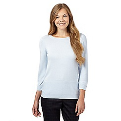 J by Jasper Conran - Pale blue textured sleeve jumper