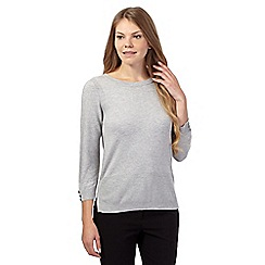 J by Jasper Conran - Light grey textured sleeve jumper