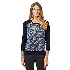 J by Jasper Conran - Navy textured brush stroke print jumper
