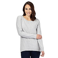 J by Jasper Conran - Grey herringbone textured sweater