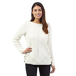 J by Jasper Conran - Off-white wool blend chunky chevron jumper