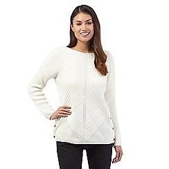J by Jasper Conran - Off-white wool blend chunky chevron jumper