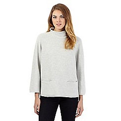 J by Jasper Conran - Pale grey roll neck pocket detail jumper