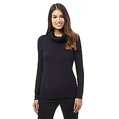 J by Jasper Conran - Navy pointelle roll neck jumper