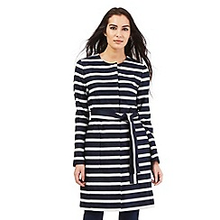 J by Jasper Conran - Navy collarless striped mac